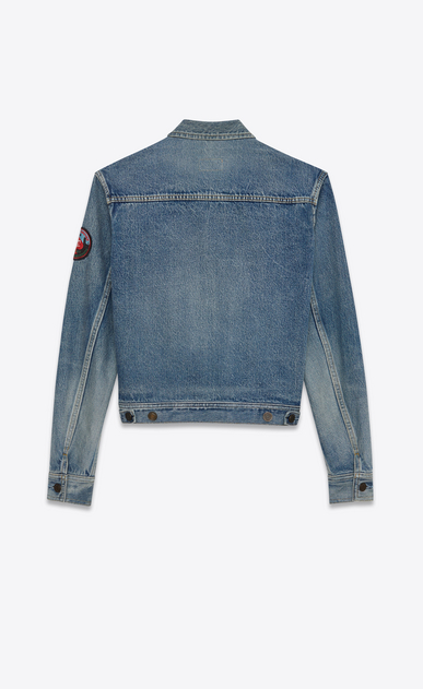 SAINT LAURENT Giacche Casual Donna Giacca di jeans con badge in denim blu delavé b_V4