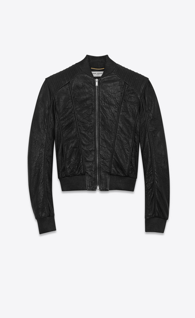 SAINT LAURENT Leather jacket Woman Overstitched jacket in black creased leather a_V4
