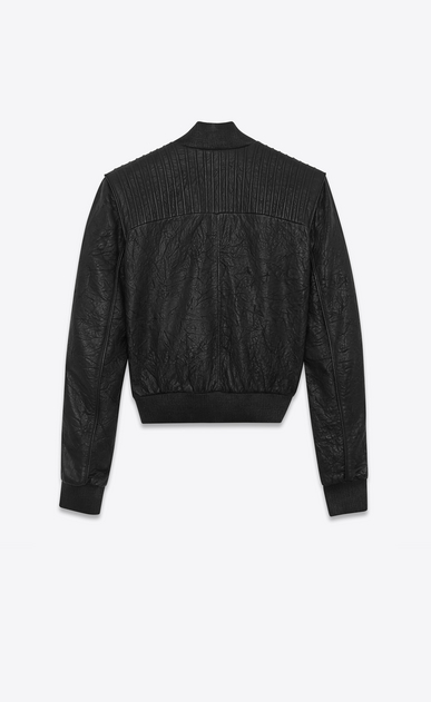SAINT LAURENT Leather jacket D Overstitched jacket in black creased leather b_V4