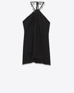 SAINT LAURENT Vestiti D Embroidered backless mini dress in black crepe de chine f