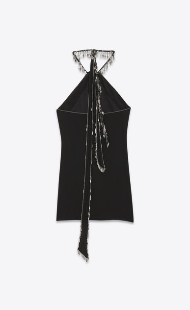 SAINT LAURENT Dresses D Embroidered backless mini dress in black crepe de chine b_V4