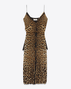 SAINT LAURENT LANGES KLEID D Sarouel dress in Georgette silk with leopard print f