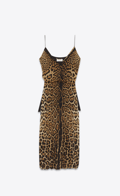 SAINT LAURENT LANGES KLEID Damen Sarouelkleid aus Seidengeorgette mit Leopardenprint a_V4