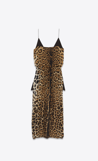 SAINT LAURENT LANGES KLEID Damen Sarouelkleid aus Seidengeorgette mit Leopardenprint b_V4