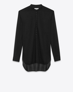 SAINT LAURENT Dresses D Tunic dress in striped black cotton voile f