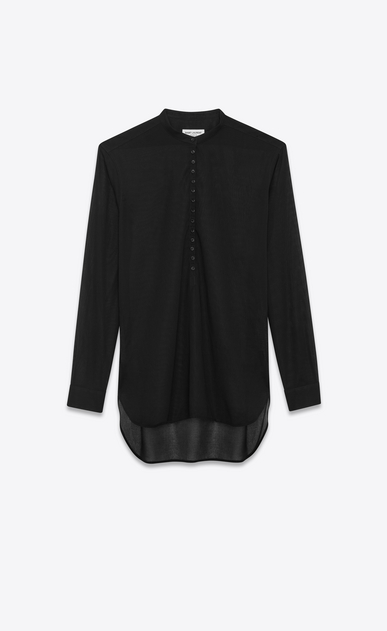 SAINT LAURENT Dresses D Tunic dress in striped black cotton voile a_V4