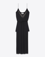 SAINT LAURENT LONG DRESSES D Mini embroidered sarouel dress in washed black Georgette silk f