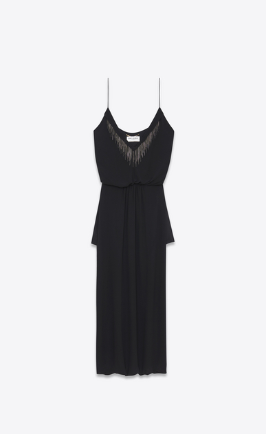 SAINT LAURENT LONG DRESSES Woman Midi embroidered sarouel dress in washed black Georgette silk a_V4