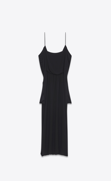 SAINT LAURENT LONG DRESSES D Midi embroidered sarouel dress in washed black Georgette silk b_V4