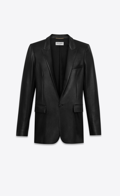 SAINT LAURENT Leather jacket Woman jacket in black leather a_V4