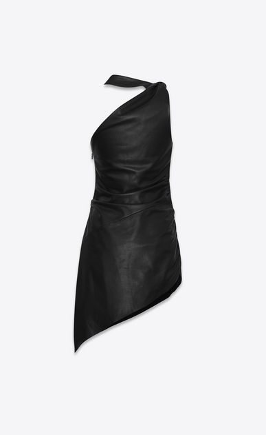 SAINT LAURENT Dresses Woman Asymmetric mini dress draped with black leather b_V4