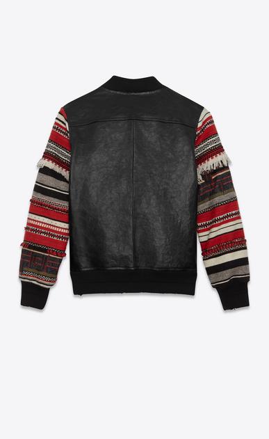 SAINT LAURENT Casual Jacken Damen Schwarze Teddy-Jacke aus Leder mit Berbermotiv am Ärmel b_V4