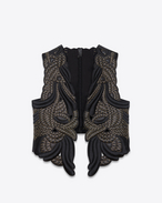 SAINT LAURENT Lederjacke D Black leather vest with gold-colored embroidery f