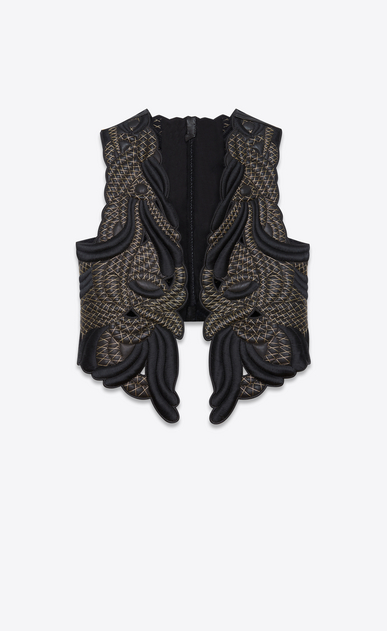 SAINT LAURENT Leather jacket Woman Black leather vest with gold-colored embroidery a_V4