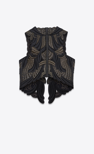 SAINT LAURENT Leather jacket D Black leather vest with gold-colored embroidery b_V4
