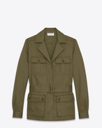 SAINT LAURENT Casual Jackets D Safari jacket in khaki cotton gabardine and linen f