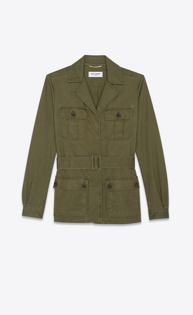 SAINT LAURENT Casual Jackets D Safari jacket in khaki cotton gabardine and linen a_V4