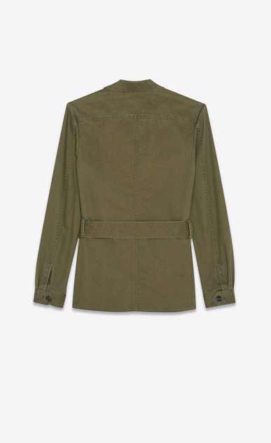 SAINT LAURENT Casual Jackets D Safari jacket in khaki cotton gabardine and linen b_V4