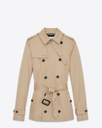 SAINT LAURENT Casual Jackets D Short trench coat in sand-colored gabardine f