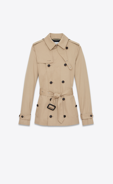 SAINT LAURENT Casual Jackets D Short trench coat in sand-colored gabardine a_V4