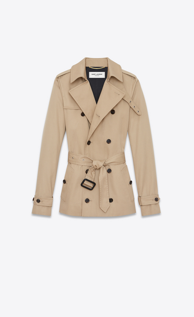SAINT LAURENT Giacche Casual Donna Trench corto in gabardine color sabbia b_V4
