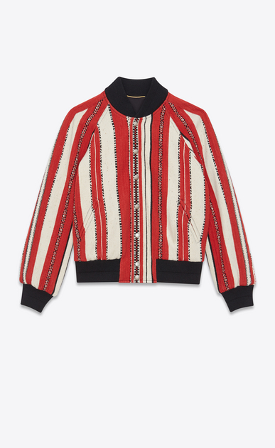 SAINT LAURENT Casual Jackets Woman Varsity jacket in red and chalk-colored Berber wool a_V4