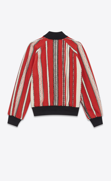 SAINT LAURENT Casual Jackets Woman Varsity jacket in red and chalk-colored Berber wool b_V4