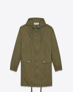SAINT LAURENT Casual Jackets D Long parka in khaki cotton gabardine and linen f