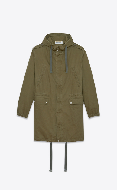 SAINT LAURENT Casual Jackets D Long parka in khaki cotton gabardine and linen a_V4
