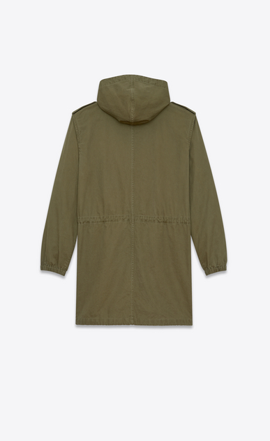 SAINT LAURENT Casual Jackets D Long parka in khaki cotton gabardine and linen b_V4