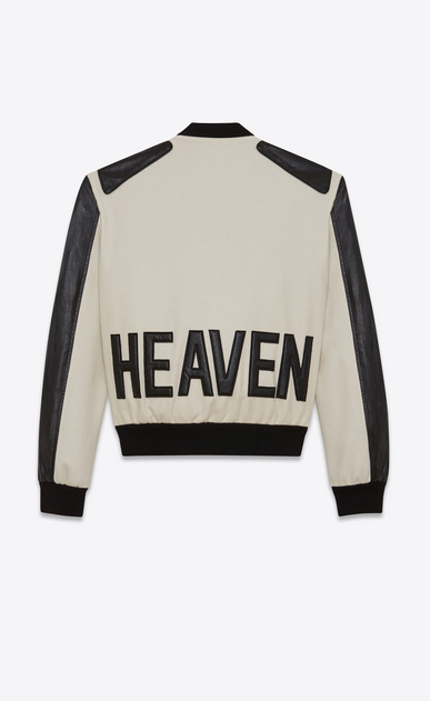 SAINT LAURENT Casual Jackets Woman HEAVEN varsity jacket in chalk-colored virgin wool and black leather a_V4