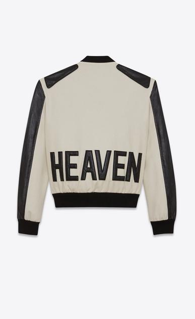 SAINT LAURENT Casual Jacken Damen HEAVEN Varsity-Jacke aus kalkweißer Schurwolle und schwarzem Leder a_V4