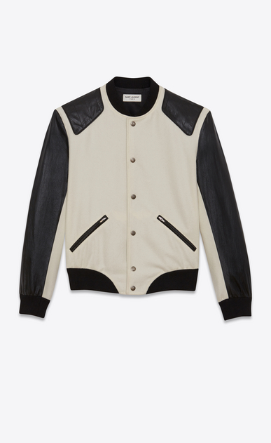 SAINT LAURENT Casual Jackets Woman HEAVEN varsity jacket in chalk-colored virgin wool and black leather b_V4
