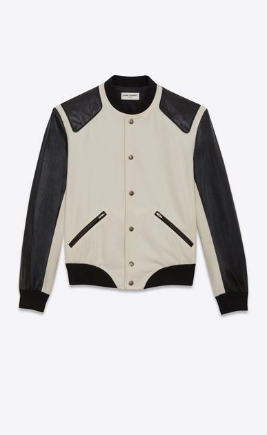SAINT LAURENT Casual Jacken Damen HEAVEN Varsity-Jacke aus kalkweißer Schurwolle und schwarzem Leder b_V4