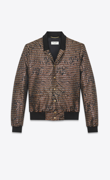 SAINT LAURENT Casual Jackets D Varsity jacket with shawl collar in floral Lurex lamé a_V4