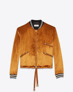 SAINT LAURENT Casual Jackets D Varsity jacket with three pockets in light gold-colored velours f