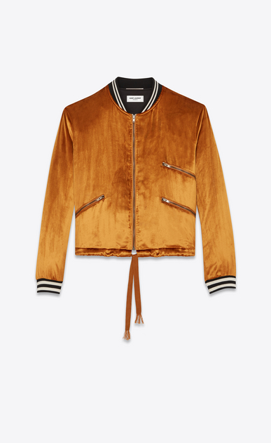 SAINT LAURENT Casual Jackets D Varsity jacket with three pockets in light gold-colored velours a_V4