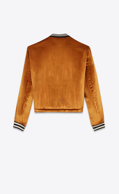 SAINT LAURENT Casual Jackets D Varsity jacket with three pockets in light gold-colored velours b_V4