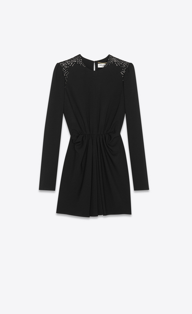 SAINT LAURENT Dresses Woman gathered mini dress with studded shoulders in black sablé a_V4
