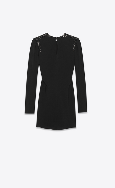 SAINT LAURENT Dresses Woman gathered mini dress with studded shoulders in black sablé b_V4