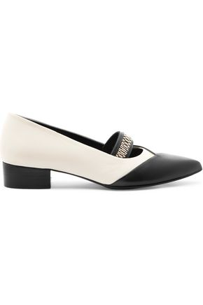 LANVIN Embellished two-tone leather point-toe flats