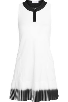 MONREAL LONDON Plissé-paneled stretch-jersey tennis dress