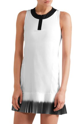 MONREAL LONDON Plissé-paneled stretch-jersey tennis dress