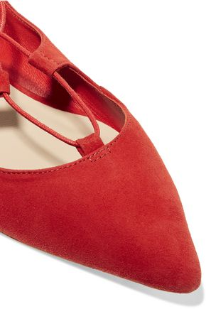 LOEFFLER RANDALL Ambra lace-up suede point-toe flats