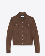 SAINT LAURENT Leather jacket U Jeans-style buttoned jacket in coffee suede f
