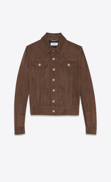 SAINT LAURENT Leather jacket Man Jeans-style buttoned jacket in coffee suede a_V4