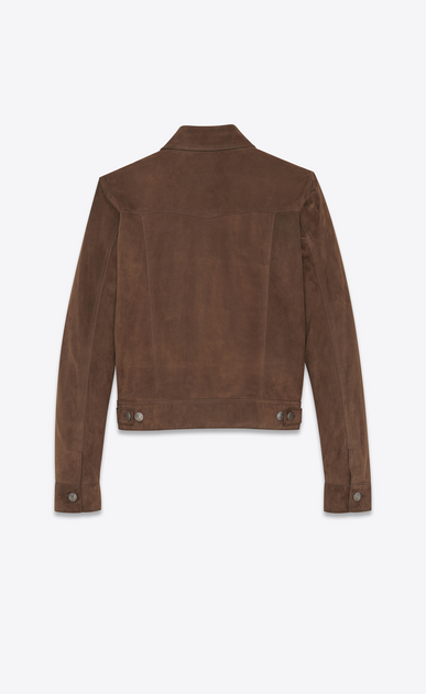 SAINT LAURENT Leather jacket Man Jeans-style buttoned jacket in coffee suede b_V4