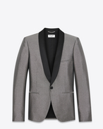 SAINT LAURENT Abendjacken U Jacket with satiny shawl collar in silver-toned fabric f