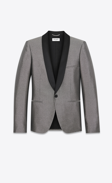 SAINT LAURENT Evening Jackets Man Jacket with satiny shawl collar in silver-toned fabric a_V4