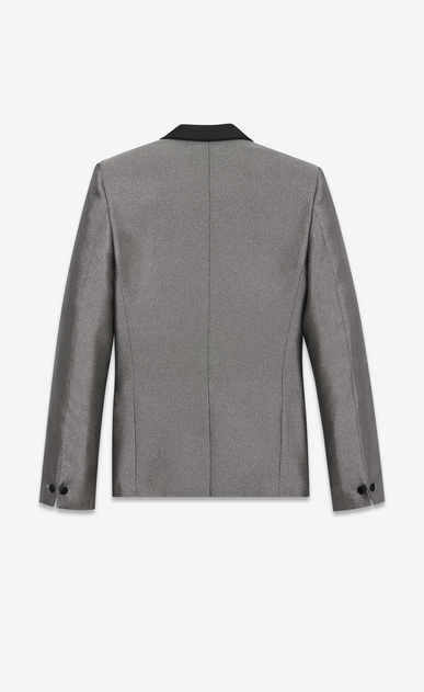 SAINT LAURENT Evening Jackets Man Jacket with satiny shawl collar in silver-toned fabric b_V4